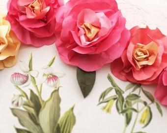 ONE Custom Sorbet Pinks 7 ft Long Paper Flower Garland - Hand Dyed Paper Roses Garland Decor