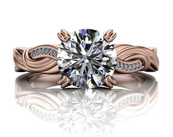 Custom Diamond Engagement Ring | Round 1 Carat Diamond or Moissanite | Asymmetrical Swirl | 14k Gold or Platinum Claw Setting