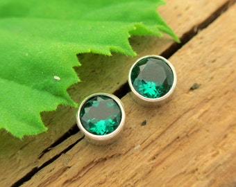 Emerald Lab Grown Earrings in Silver with Genuine Gems, 4mm - Free Gift Wrapping