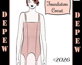 Vintage Sewing Pattern Ladies 1910's - 1920's Style Foundation Corset Multisize Depew #2026 -INSTANT DOWNLOAD-