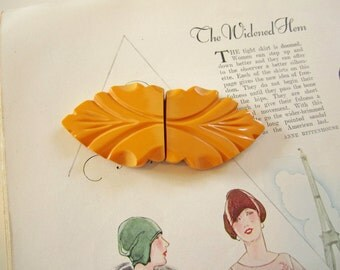 Beautiful Vintage Carved Butterscotch Bakelite Leaf Belt Buckle