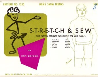 1960's Vintage Sewing Pattern Stretch & Sew 1235 Men's Swim Trunks Sizes 28-40