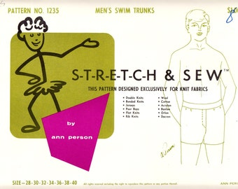 1960's Vintage Sewing Pattern Stretch & Sew 1235 Men's Swim Trunks Sizes 28-40