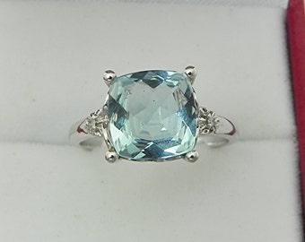 AAAA Santa Maria Blue Aquamarine Cushion cut   9x9mm  2.13 Carats   10K white gold Engagement Ring set with .02 carats of diamonds 0738