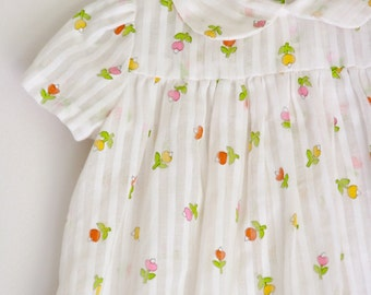 Vintage girls dress or blouse 6 months to 18 months tulips