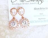 Rhinestone Bridal Earrings, Wedding Earrings, Rose Gold Earrings, Cubic Zirconia Earrings, Pink Gold wedding earrings, bridal jewelry, blush