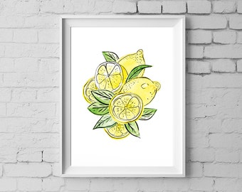 Lemon Art Print, 8x10 inches Lemon Wall Art, Lemon Illustration Kitchen art, Lemon Nursery wall art, Digital Download, Paper Squid #192D