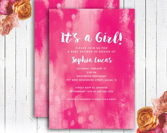 Baby Shower Invitation, Pink Painted Baby Shower invitation, It's a Girl Inviation, personalized, Digital DIY Printable File, Item 181B