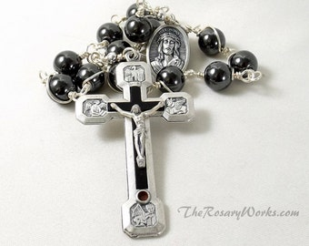 Stations of the Cross Chaplet Rosary Via Crucis Via Dolorosa Hematite Gray Gunmetal Color Crucifix Wire Wrapped Unbreakable Pocket Version