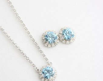 Halo Earrings and Necklace Set Aquamarine Blue Crystal Bridal Earrings Bridesmaid Earrings Bridesmaid Necklace Wedding Jewelry Set STUD Z15