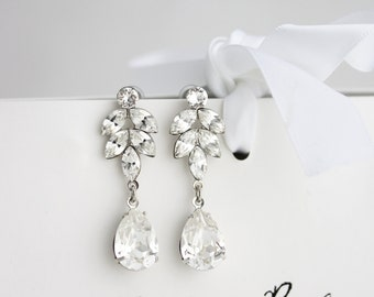 Crystal Bridal Earrings Art Deco Crystal Leaf Earrings Swarovski Crystal Wedding Earrings Bridal Jewelry  AMELIA