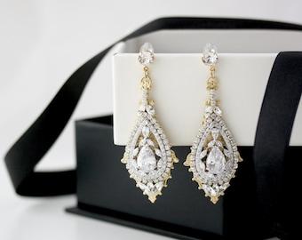 Gold Bridal Earrings Chandelier Wedding Earrings Swarovski Crystal Art Deco Earrings Vintage Bridal Jewelry Mixed Metal Earrings ZOE
