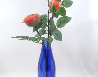 Recycled  Glass Bud Vase Blue Wine Bottle Sandblasted Graphic Wavy Design
