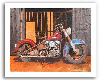 """Harley Davidson 1950 Pan Head Motorcycle Art """"Harley Barn Find"""" Prints Signed and Numbered"""