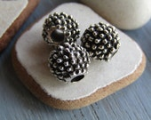 Antiqued silver round beads , spikey bubble texture , metal casting , silver plated finish with patina ,  9mm ( 6 beads) 6As2302