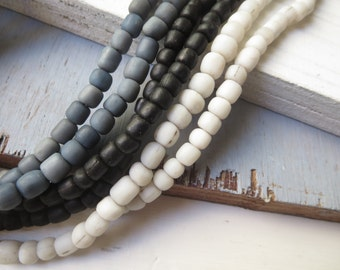 Trio small glass seed beads , rustic opaque white grey black, barrel tube spacer Modern Indo-pacific 3 to 6mm / 3 x 10 inches  strand - 5ax