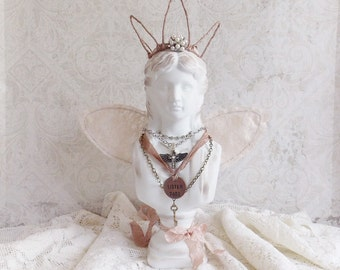Shabby Cottage Chic Distressed Assemblage Art Doll Angel Statue