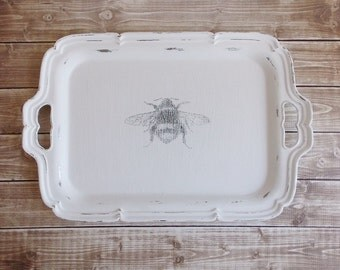 Shabby Rustic Chic Tattered and Distressed Queen Bee White Repurposed Upcycled Metal Tray