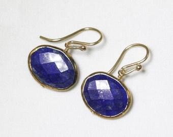 Blue Lapis Gemstone Earrings Blue Lapis Jewelry Gold Bezel Earrngs Natural Stone Earrings One of a Kind Earrings BZ-E-145-Lapis/g