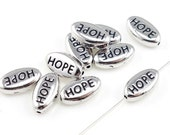 TierraCast HOPE Beads - Antique Silver Beads - Cancer Awareness Jewelry Supplies (P253)