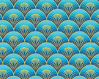 Fanfare Blue Gold Rhapsody in Blue Benartex Fabric 1 yard