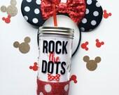 Rock The Dots /// Minnie Mouse /// Glitter Mason Jar Tumbler // Glitter Tumbler // Glitter Glass