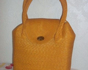 Vintage 60s Woven Raffia Handbag Purse Bamboo Handles Made in Japan Ritter