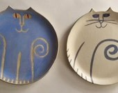 "Pottery Cat plate round 8.5""  handmade decor or cake plate choose blue or white clay ceramic feline party pet resort hotel decor"
