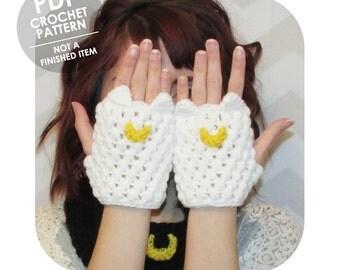 crochet fingerless gloves pattern - Sailor Moon cat ears fingerless gloves mittens  - luna artemis diana - cosplay halloween costume