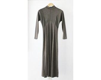 1990's Striped Turtle Neck Midi Dress