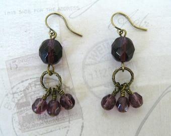 Plum Bead Dangle Earrings, Amethyst Glass Bead Earrings, Purple Boho Dangles, Bohemian Style Jewelry