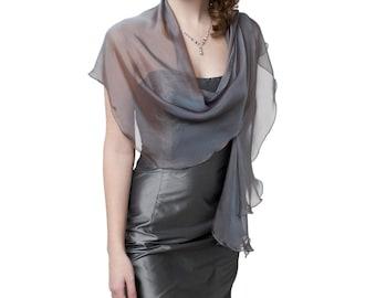 Evening Silk Chiffon Steel Blue Fluttering Scarf Wrap