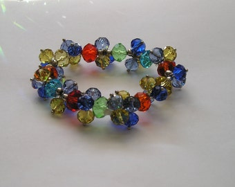 Multi Colored Crystal Beaded Stretch Bracelet