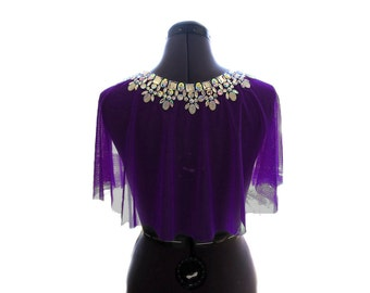 Sheer Royal Purple Formal Rhinestone Shawl, Bright Purple Crystal AB Rhinestone Formal Cape, Purple Rhinestone Shrug, Jeweled Formal Wrap