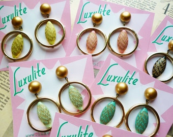 NEW! Mid Century Modern Gold Scrafitto drop hoop earrings handmade 1950s style by Luxulite