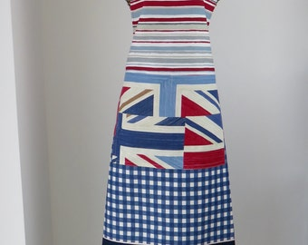 Fathers Day apron,Baking apron,Chefs apron,Mans apron,Union Jack apron,print panel apron-red White and blue apron-womans apron