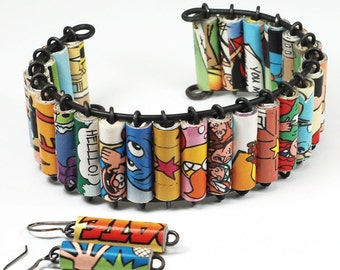 Comic Book Jewelry- Upcycled Comic Book Cuff Bracelet, Paper Bead Jewelry, Comic Book Gift, Paper Jewelry by Tanith Rohe