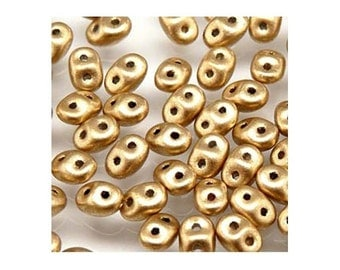 SuperDuo 2 Hole Czech Seed Beads 36101 (24g), Crystal Bronze Pale Gold 2.5x5mm Two Hole Glass Seed Bead, Matubo Seed Beads, Beadwork Beads