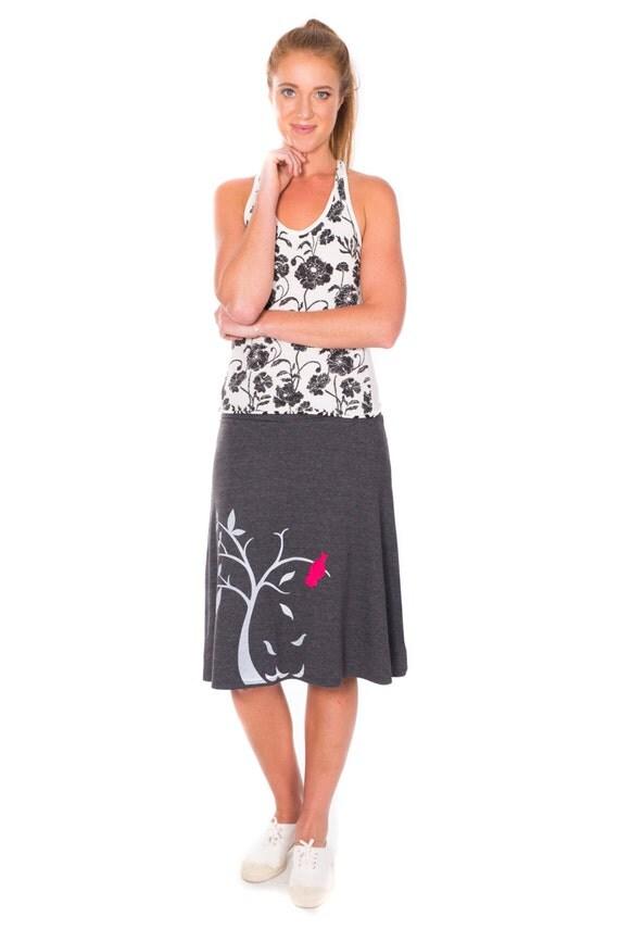 Women's Skirt . Charcoal Grey Knee Length Skirt . Jersey Midi Skirt . Handmade A-line skirt - The bird and the falling leaves