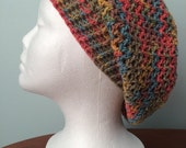 Slouchy multicolor adult crochet hat