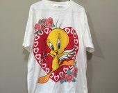 Tweetie Bird Tshirt, Vintage Looney Tunes Shirt Cupid Heart Tacky Valentines Day Tee Sweetheart 90s Tee Shirt Vintage Tweetie Bird Heart XXL