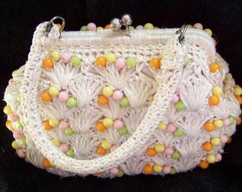 Vintage 1960's Purse by Mantessa Cello-Straw with Beads Man Men Style