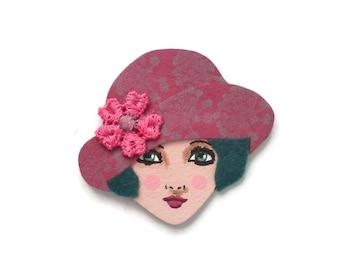 Jazz age flapper fabric brooch - Frannie, dust pink, slate, grey, lilac, floral