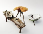 Rustic Primitive Mini Table, Wood Twig Furniture, Fairy Table, Fae Coffetable, Faery Bedside Stand, Brown, Lichen Covered, Mushroom
