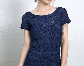 SALE - Crochet Navy Blue Dress