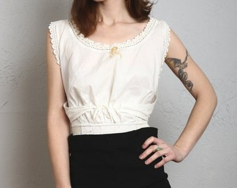SALE- Antique Top . Sleeveless White Cotton Wrap Blouse