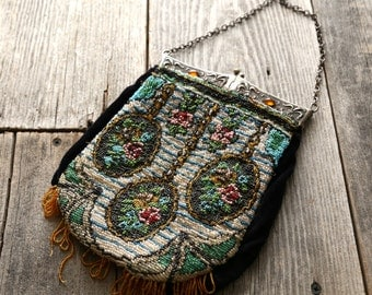 SALE- Antique Beaded Purse . Victorian Era . Velvet , Metal & Glass