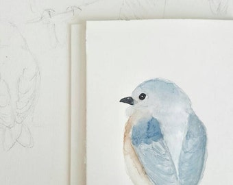 Original Watercolor Painting of an Eastern Bluebird; Home Decor, Wall Art, 4x6, OOAK