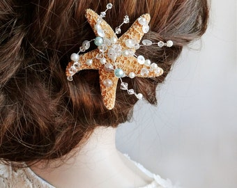 starfish hair clip, starfish hair pin, ocean jewelry, beach wedding hair accessories, seashell hair clip, beach jewelry, Swarovski