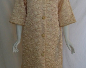 Vintage knee length quilted robe  Floral orchid design on gold satin Quilted satin house coat  Morning coat  Coffee coat